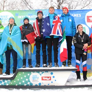 160115_Cross_Country_Relay_Mixed_Team_Seefeld_Arena_Preisverleihung_1Platz_Team13_2Platz_Team14_3Platz_Team3